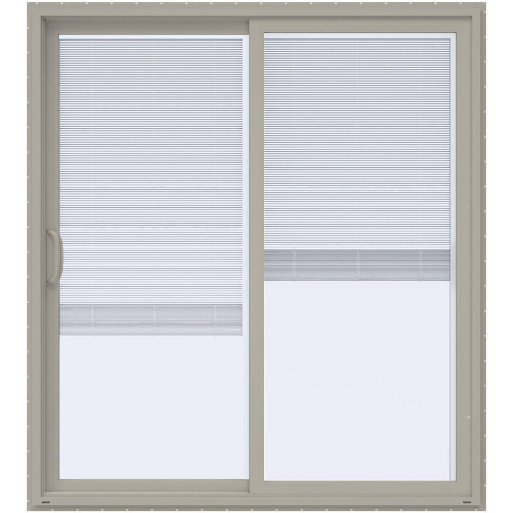 JELD WEN 72 In. X 80 In. V 4500 Desert Sand Prehung Left Hand Sliding Vinyl  Patio Door With Blinds THDJW155900281   The Home Depot