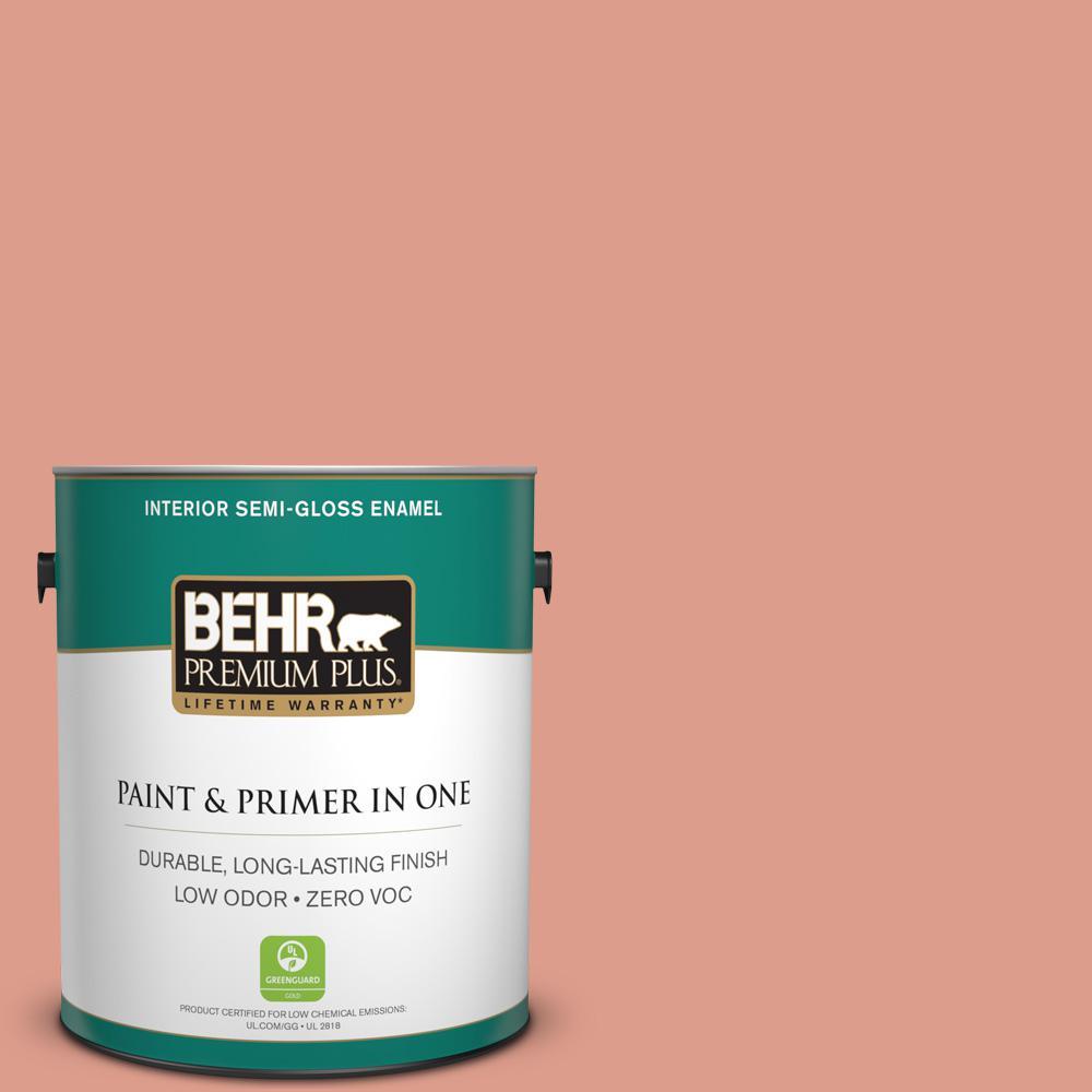 BEHR Premium Plus 1-gal. #210D-4 Medium Terracotta Zero VOC Semi-Gloss Enamel Interior Paint