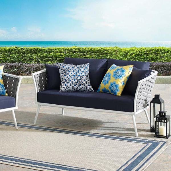 Stance Aluminum Outdoor Loveseat in White with Navy Cushions