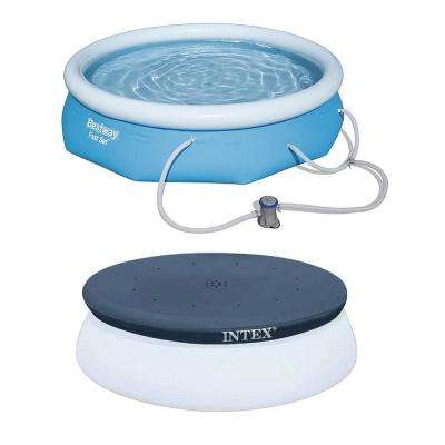 Bestway 10 ft. x 30 in. Above Ground Pool with Filter Pump, Intex 10 in. Pool Round Cover