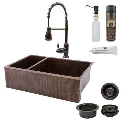 All-in-One Farmhouse Apron-Front Copper 33 in. 0-Hole 25/75 Double Basin Kitchen Sink in Oil Rubbed Bronze