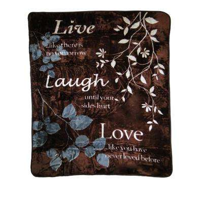 80 in. x 60 in. High Pile Live Laugh Love Raschel Knit Throw
