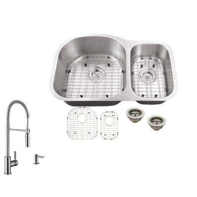 Undermount 32 in. 16-Gauge Stainless Steel Kitchen Sink in Brushed Stainless with Pull Out Kitchen Faucet