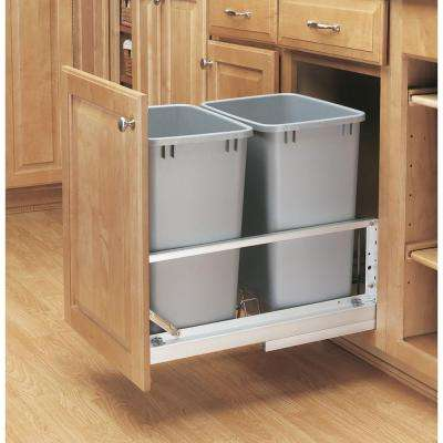 19.25 in. H x 14.81 in. W x 22.13 in. D Double 35 Qt. Pull-Out Brushed Aluminum and Silver Waste Container