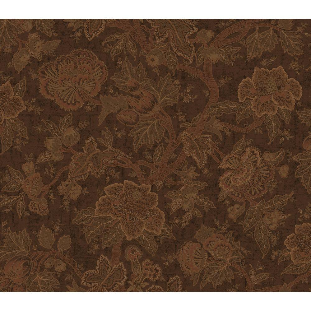 The Wallpaper Company 56 sq. ft. Chocolate Floral Trail Wallpaper