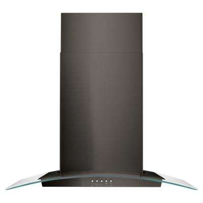 30 in. Concave Glass Wall Mount Range Hood in Black Stainless Steel