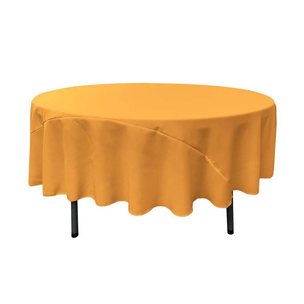 La Linen 90 In Gold Polyester Poplin Round Tablecloth
