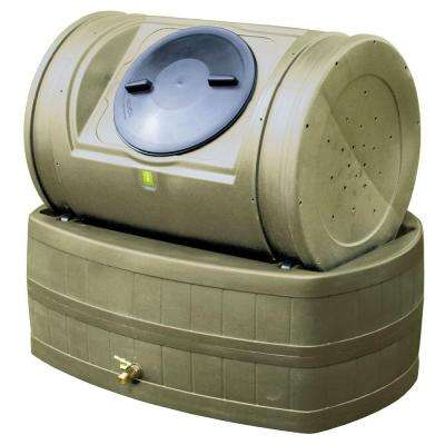 7 cu. ft. Compost Tumbler with 47 gal. Rain Barrel Base in Khaki