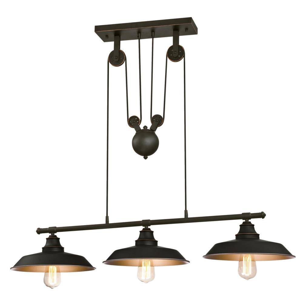 Westinghouse Iron Hill 3 Light Oil Rubbed Bronze Island Pulley Pendant