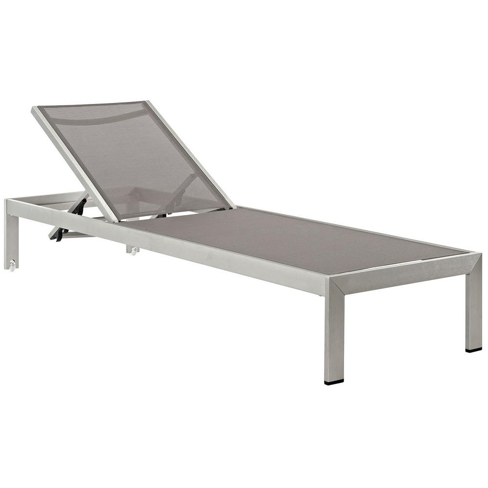 Shore Mesh Silver Gray Aluminum Outdoor Patio Chaise Lounge