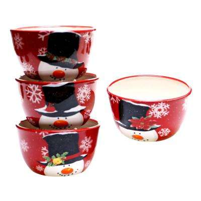 Top Hat Snowman Ice Cream/Cereal Bowl (Set of 4)