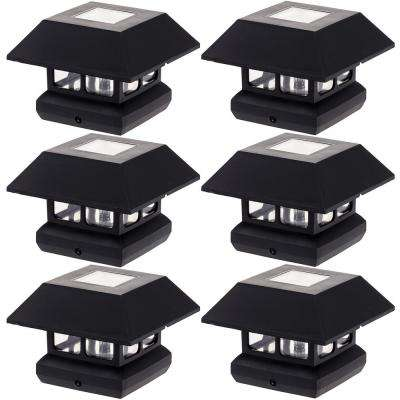 4 in. x 4 in. Solar Powered Integrated LED Black Post Cap Light for Nominal Wood Posts (6-Pack)