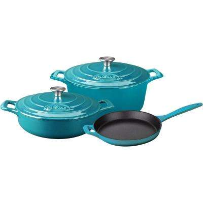 5-Piece Enameled Cast Iron Cookware Set with Saute, Skillet and Round Casserole in High Gloss Teal
