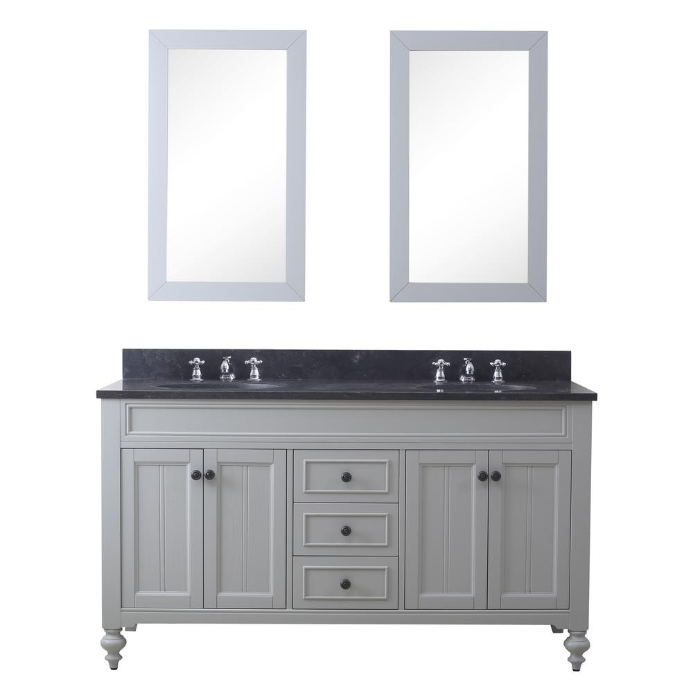 Water Creation Potenza 60 in. W x 33 in. H Vanity in Earl Grey with Granite Vanity Top in Blue Limestone with Basin, Mirrors and Faucet
