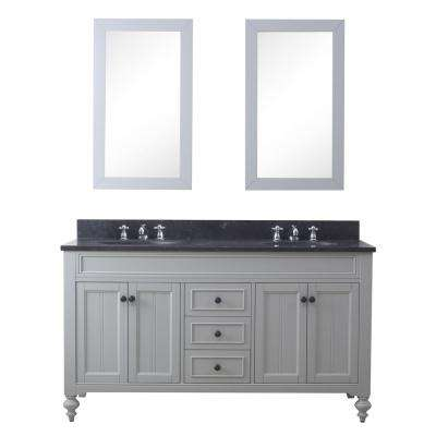 Potenza 60 in. W x 33 in. H Vanity in Earl Grey with Granite Vanity Top in Blue Limestone with Basin, Mirrors and Faucet