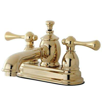Vintage 4 in. Centerset 2-Handle Bathroom Faucet in Polished Brass