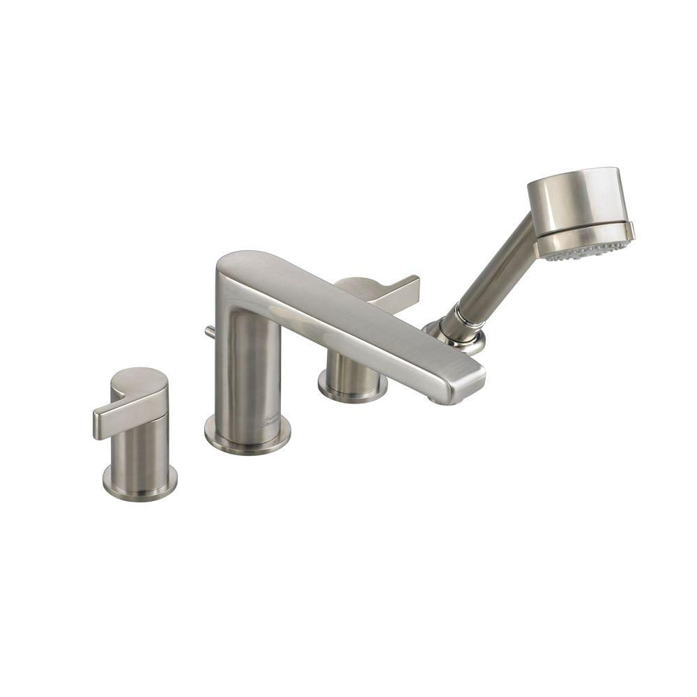 Studio 2-Handle Deck-Mount Roman Tub Faucet with Personal Shower in Brushed