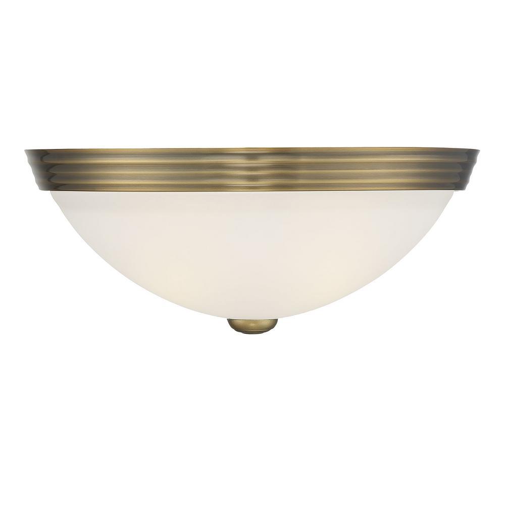 13 in. 2-Light Warm Brass Flush Mount