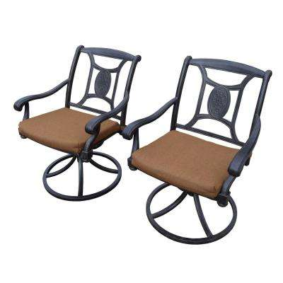 Victoria 2-Piece Metal Outdoor Bistro Set with Sunbrella Brown Cushions