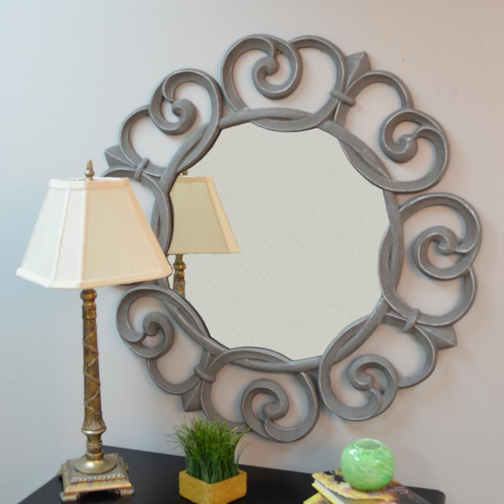 Ina Cottage Audrey 28 In Round Mirror Frame Silver Pewter
