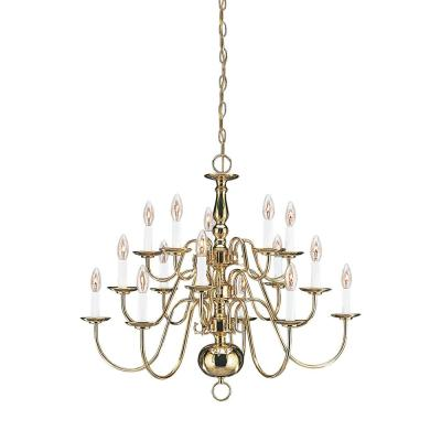 Traditional 15-Light Polished Brass Chandelier with Dimmable Candelabra LED Bulb