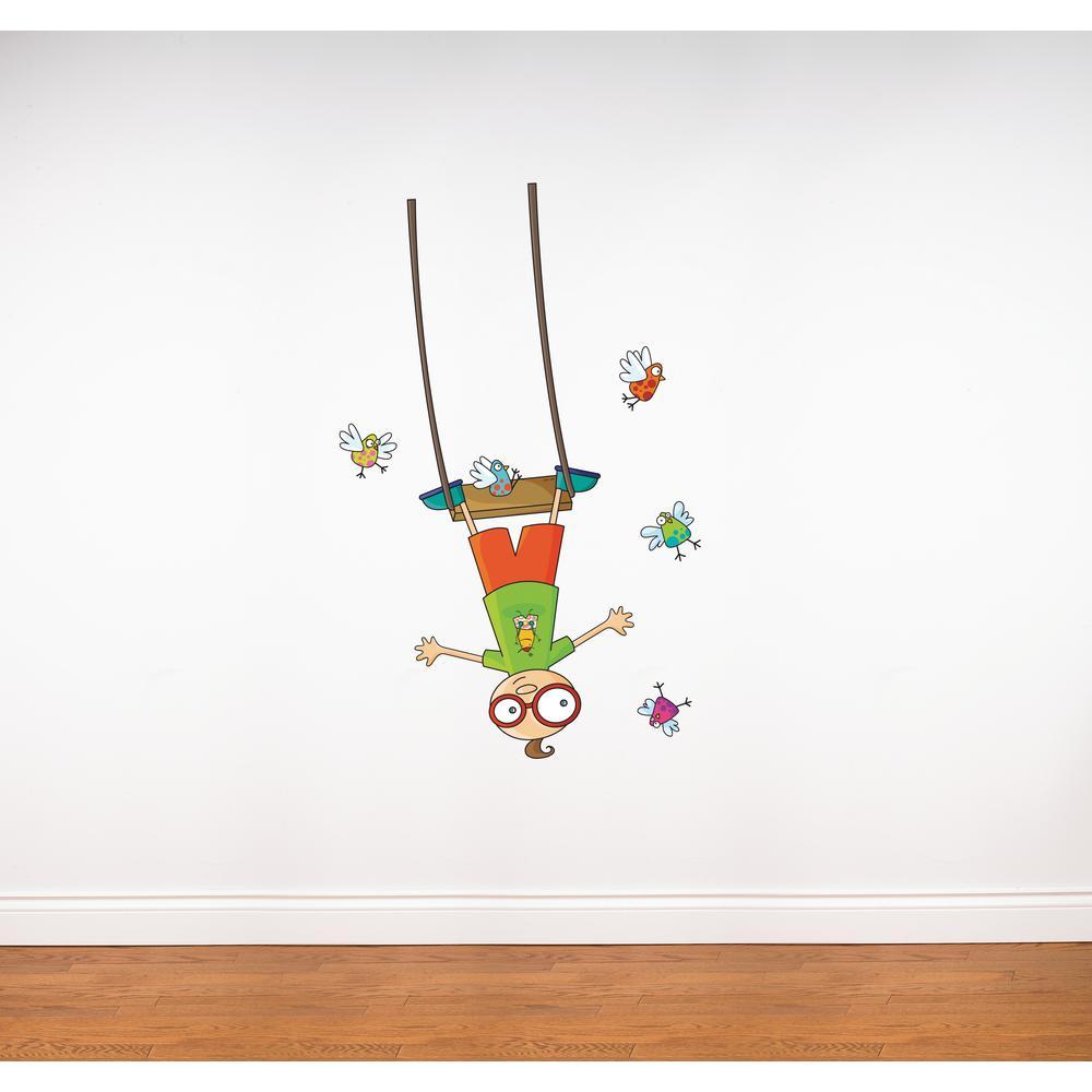 "(31 in x 55 in) Multi-Color ""Swing Boy"" Kids Wall Decal"