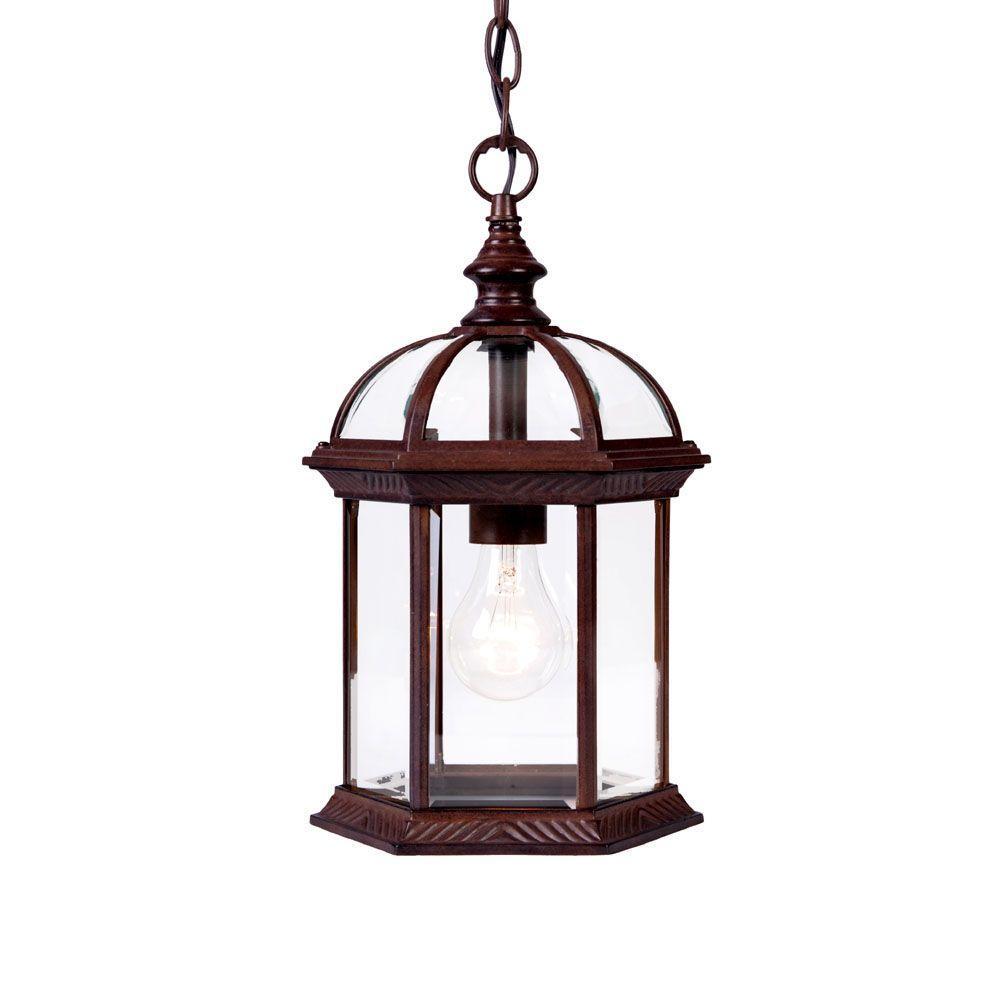 Acclaim Lighting Dover Collection 1-Light Burled Walnut Outdoor Hanging Lantern