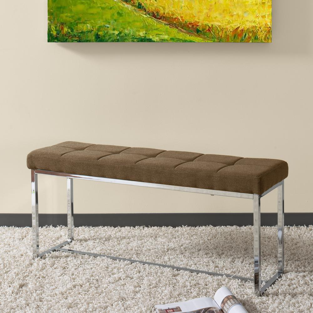 Huntington Modern Brown Fabric Bench with Chrome Base
