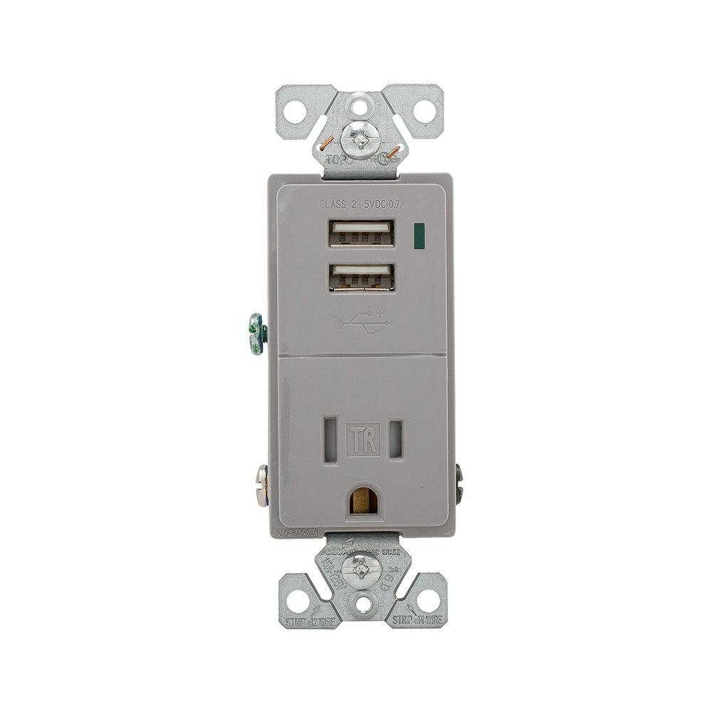 Eaton 15 Amp Decorator USB Charging Electrical Outlet - Light Almond ...