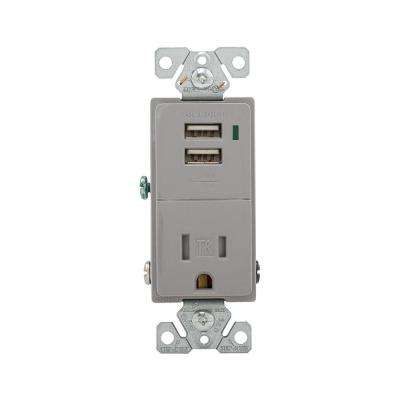15 Amp 125-Volt Receptacle Combination USB Charger with Tamper Resistant, Gray