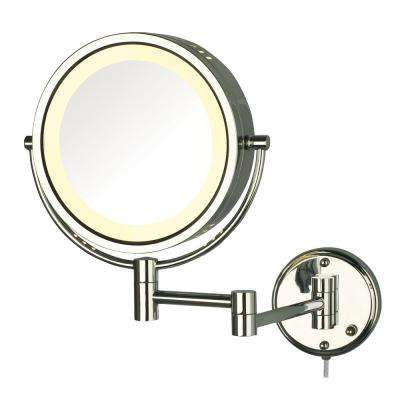 8.5 in. Lighted Wall Makeup Mirror in Chrome, Corded