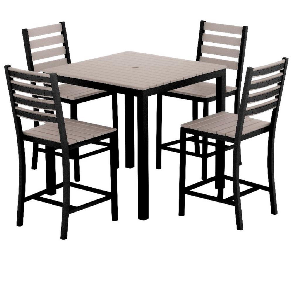 Loft 5-Piece Aluminum Outdoor Balcony Height Dining Set