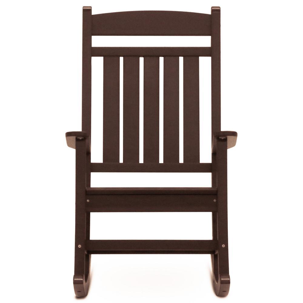 Classic Rocker Chocolate Plastic Outdoor Rocking Chair