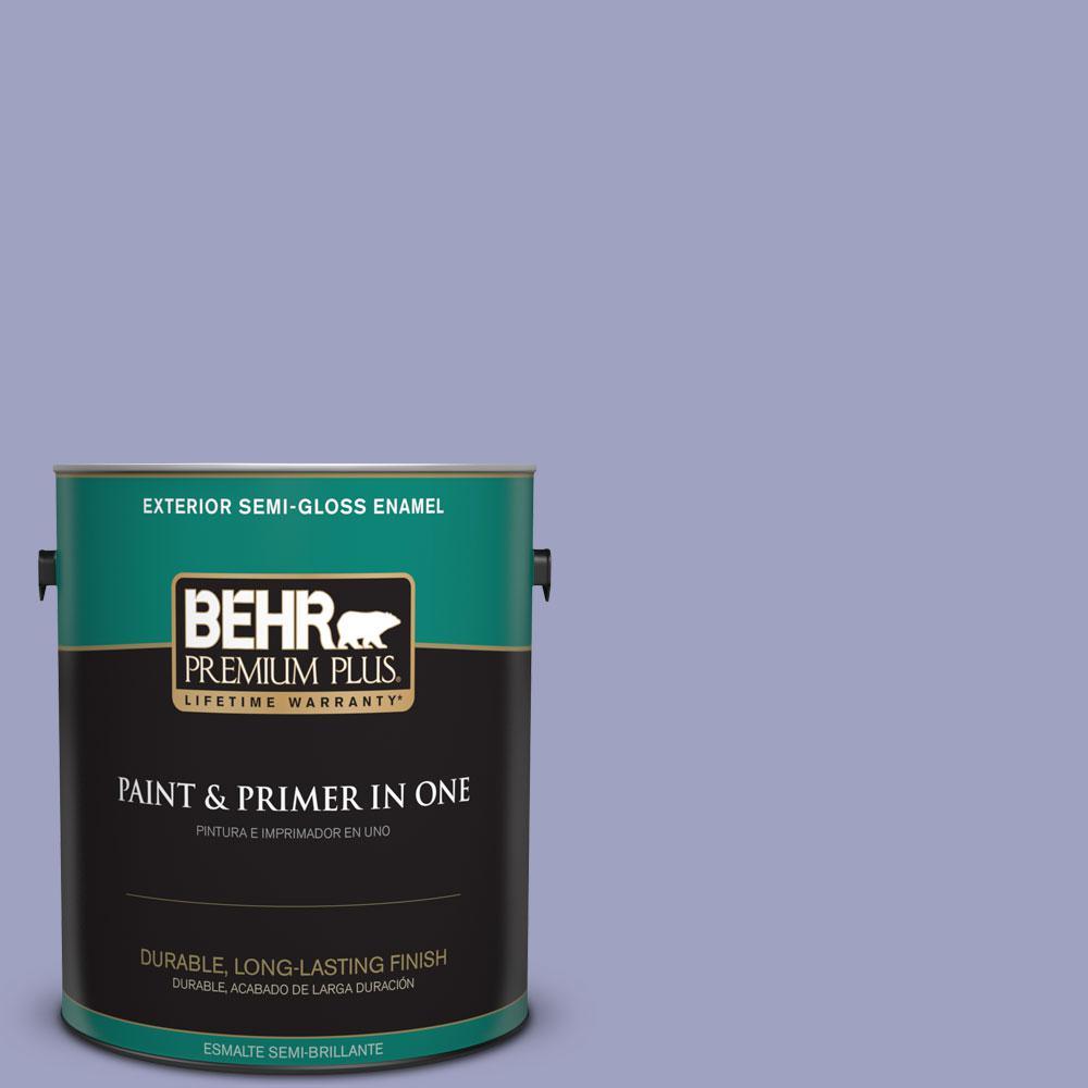 BEHR Premium Plus 1-gal. #630D-4 Ruffled Iris Semi-Gloss Enamel Exterior Paint