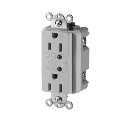 Commercial Grade 15 Amp Duplex Receptacle with LED Indicators, White