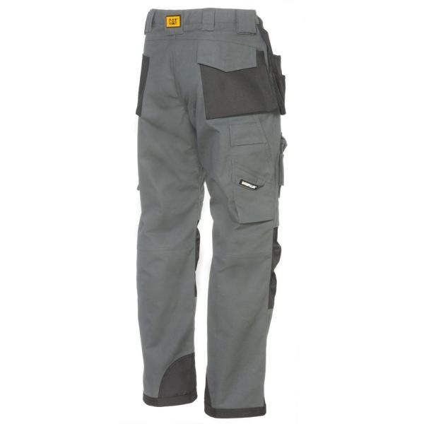 Caterpillar Trademark Men S 50 In W X 30 In L Grey Black Cotton Polyester Canvas Heavy Duty Cargo Work Pant C172x 079 50 30 The Home Depot