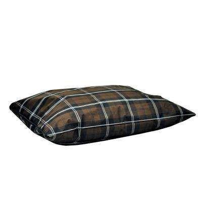 Single-Seam Large Brown Plaid Indoor/Outdoor Pillow Dog Bed