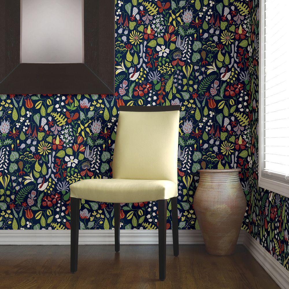 Brewster navy floral motif wallpaper wv2744 the home depot - Floral wallpaper home depot ...