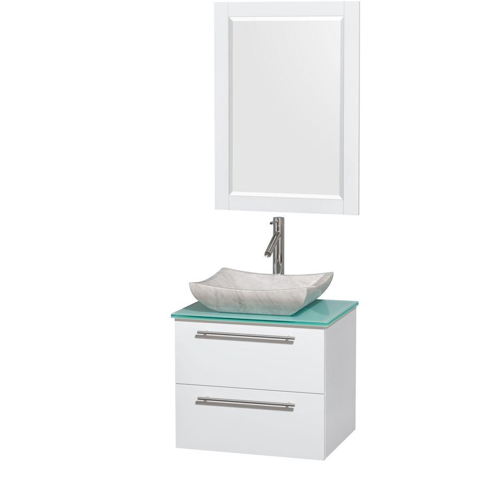 Wyndham Collection Amare 24 in. Vanity in Glossy White with Glass Vanity Top in Green with White Carrara Marble Sink and 24 in. Mirror