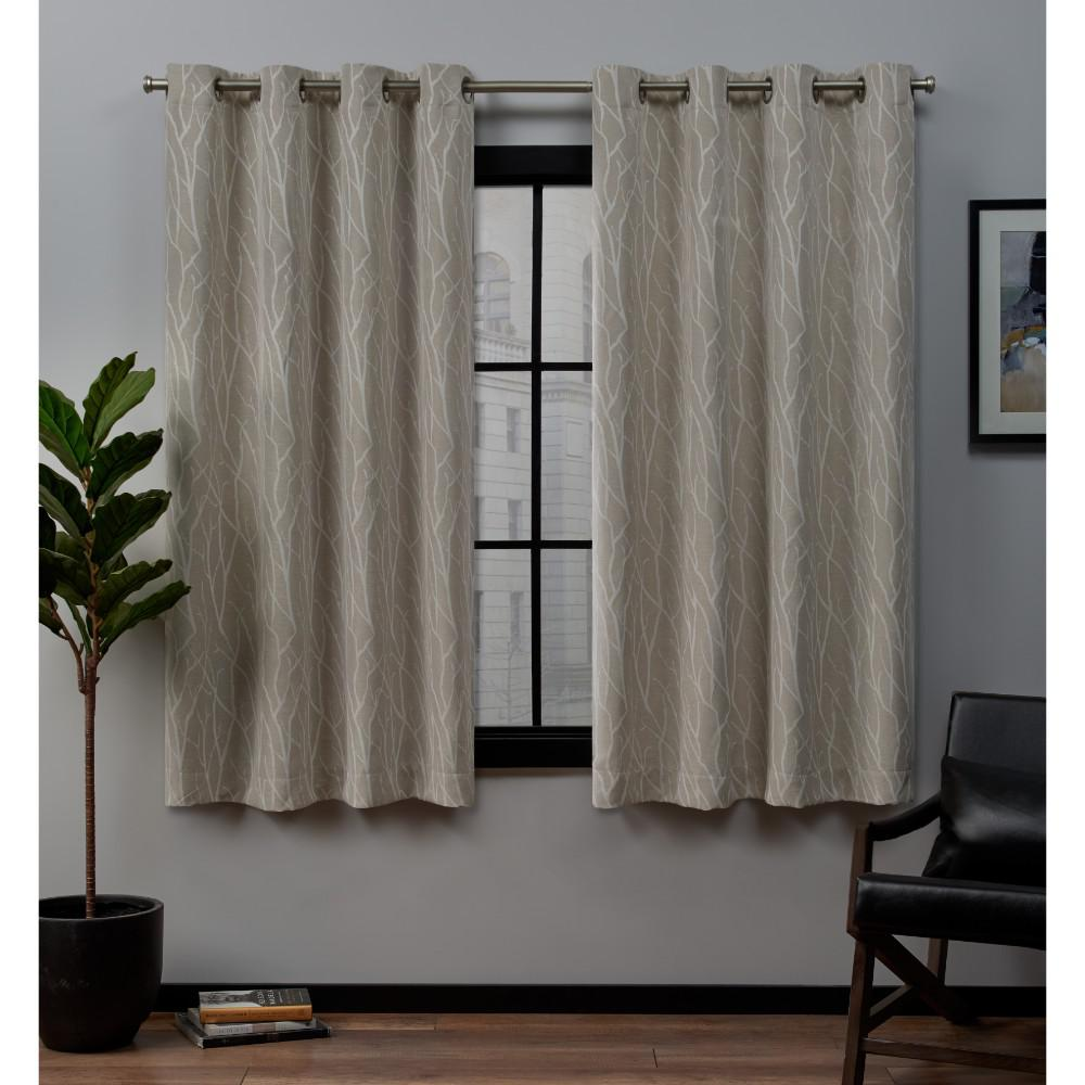 Exclusive Home Curtains Forest Hill 52 in. W x 63 in. L Woven Blackout Grommet Top Curtain Panel in Linen (2 Panels)