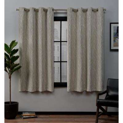 Forest Hill 52 in. W x 63 in. L Woven Blackout Grommet Top Curtain Panel in Linen (2 Panels)