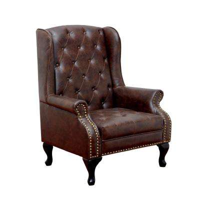 Vaugh Traditional Style Rustic Brown Accent Chair