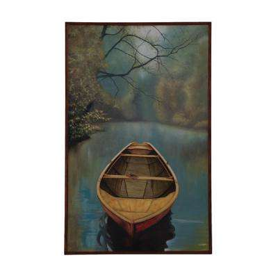 "48 in. x 30 in. ""River Boat"" Framed Hand Painted Canvas Wall Art"