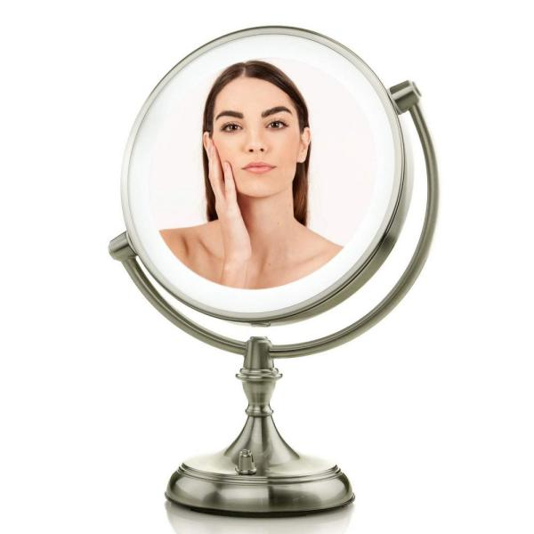 LED Lighted Makeup Mirror with Dimmable, Battery or USB Adapter Operated with 1x or 5x Magnification