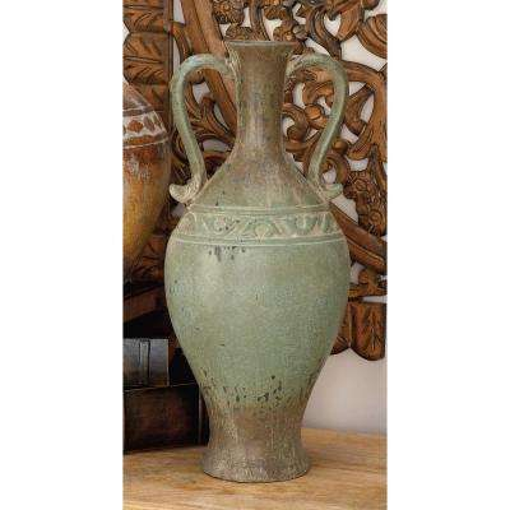 22 in. Tuscan-Inspired Ceramic Vase in Distressed Verdigris
