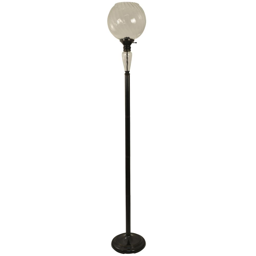 Preston 72 in. Aged Bronze Floor Lamp with Glass Shade