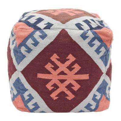 18.25 in. Cotton Woven Square Pouf