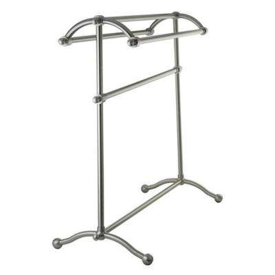 Pedestal Towel Rack in Satin Nickel