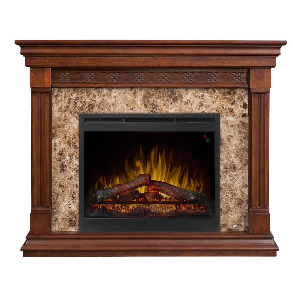 Elegant details provide the hallmark of craftsmanship on the stately Alcott Mantel Electric Fireplace.  Showcase the faux marble surround for a sophisticated contrast or reverse the panels for a full