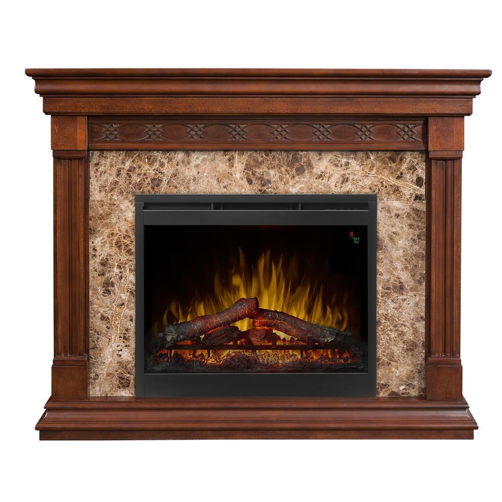 """Alcott 51"""" Freestanding Electric Fireplace in Mocha"""